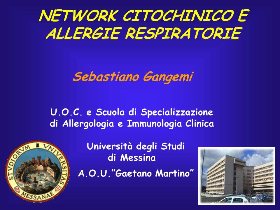 NETWORK CITOCHINICO E ALLERGIE RESPIRATORIE Sebastiano Gangemi U.O.C. e Scuola di Specializzazione di Allergologia e Immunologia Clinica Università de