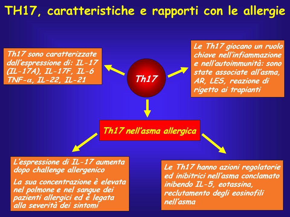 Th17 Th17 sono caratterizzate dallespressione di: IL-17 (IL-17A), IL-17F, IL-6 TNF-, IL-22, IL-21 Le Th17 giocano un ruolo chiave nellinfiammazione e