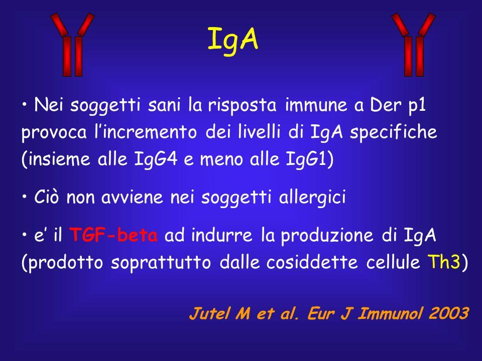 IgA Nei soggetti sani la risposta immune a Der p1 provoca lincremento dei livelli di IgA specifiche (insieme alle IgG4 e meno alle IgG1) Ciò non avvie