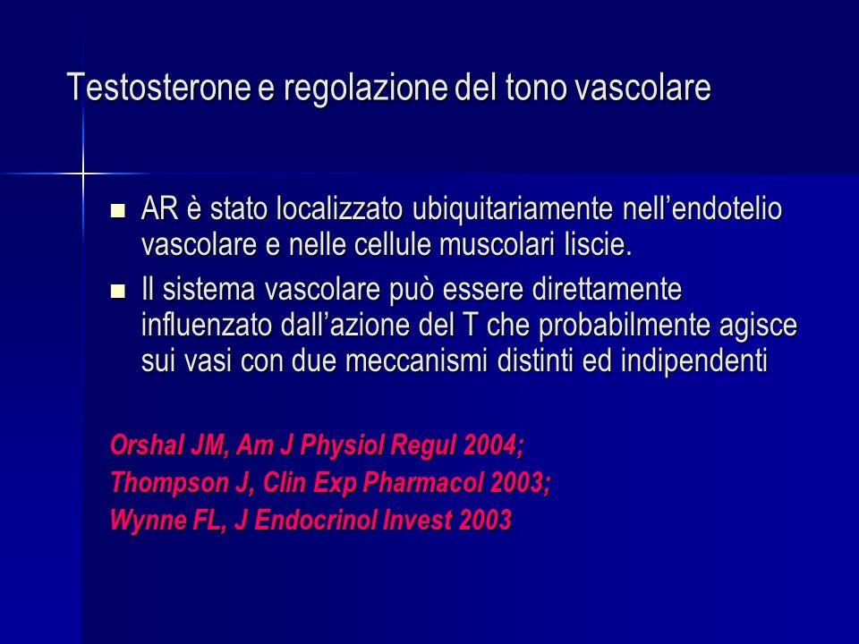 Testosterone e regolazione del tono vascolare AR è stato localizzato ubiquitariamente nellendotelio vascolare e nelle cellule muscolari liscie. AR è s
