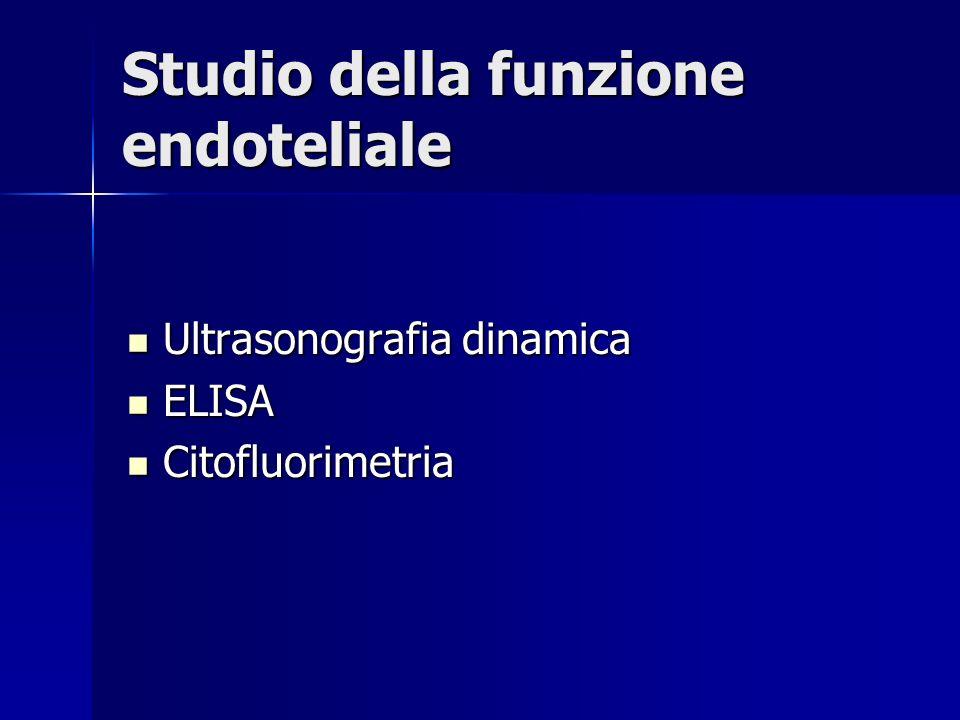 Studio della funzione endoteliale Ultrasonografia dinamica Ultrasonografia dinamica ELISA ELISA Citofluorimetria Citofluorimetria