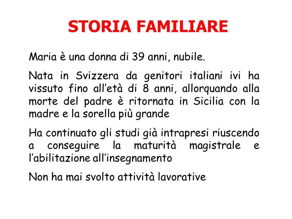STORIA FAMILIARE Maria è una donna di 39 anni, nubile.
