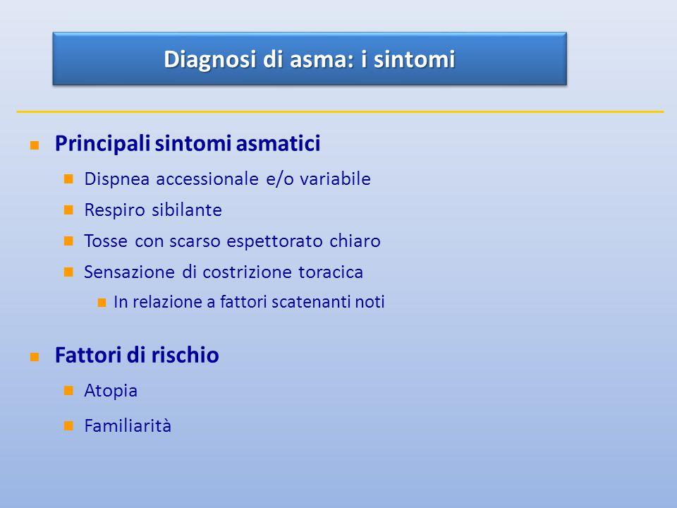 Principali sintomi asmatici Dispnea accessionale e/o variabile Respiro sibilante Tosse con scarso espettorato chiaro Sensazione di costrizione toracica In relazione a fattori scatenanti noti Fattori di rischio Atopia Familiarità Diagnosi di asma: i sintomi