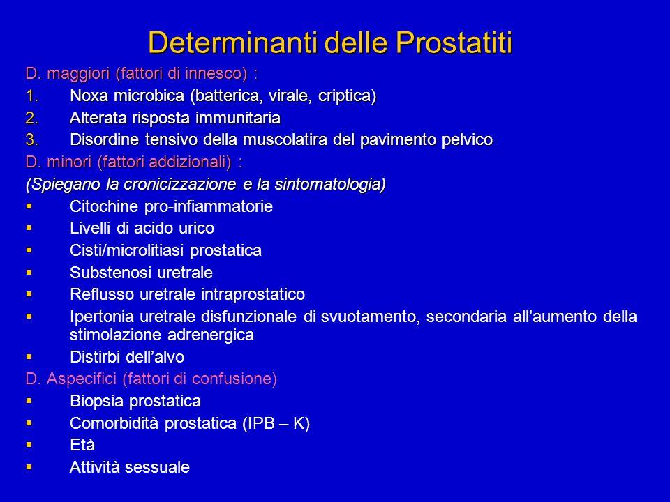 Determinanti delle Prostatiti D. maggiori (fattori di innesco) : 1.Noxa microbica (batterica, virale, criptica) 2.Alterata risposta immunitaria 3.Diso