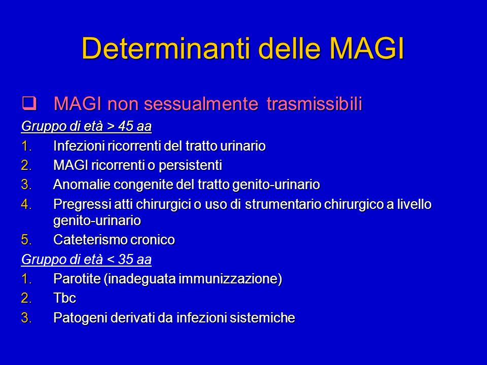 Determinanti delle MAGI MAGI non sessualmente trasmissibili MAGI non sessualmente trasmissibili Gruppo di età > 45 aa 1.Infezioni ricorrenti del tratt