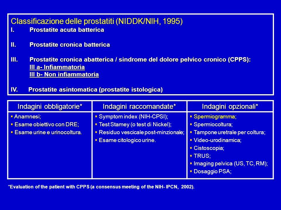 Classificazione delle prostatiti (NIDDK/NIH, 1995) I.Prostatite acuta batterica II.Prostatite cronica batterica III.Prostatite cronica abatterica / si