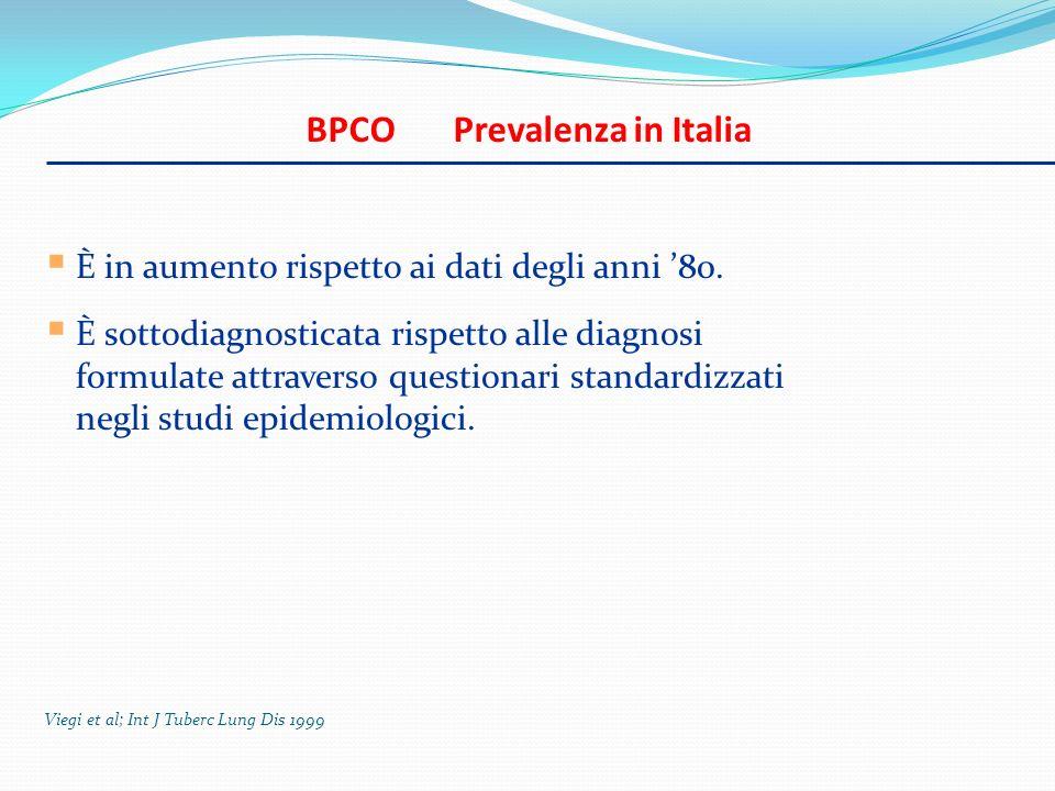 BPCO Prevalenza in Italia È in aumento rispetto ai dati degli anni 80. È sottodiagnosticata rispetto alle diagnosi formulate attraverso questionari st