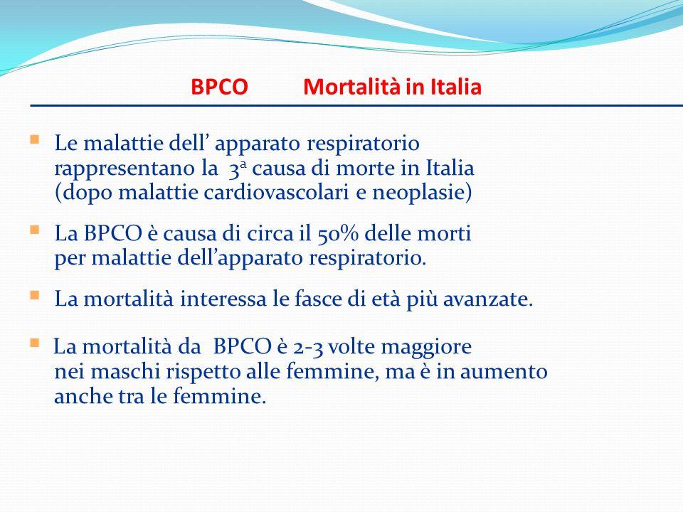BPCO Mortalità in Italia Le malattie dell apparato respiratorio rappresentano la 3 a causa di morte in Italia (dopo malattie cardiovascolari e neoplas
