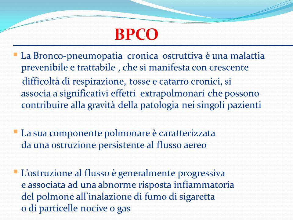 BPCO La Bronco-pneumopatia cronica ostruttiva è una malattia prevenibile e trattabile, che si manifesta con crescente difficoltà di respirazione, toss