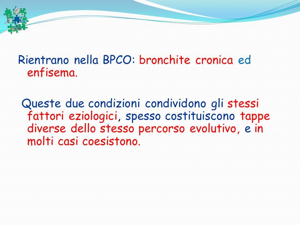Rientrano nella BPCO: bronchite cronica ed enfisema. Queste due condizioni condividono gli stessi fattori eziologici, spesso costituiscono tappe diver
