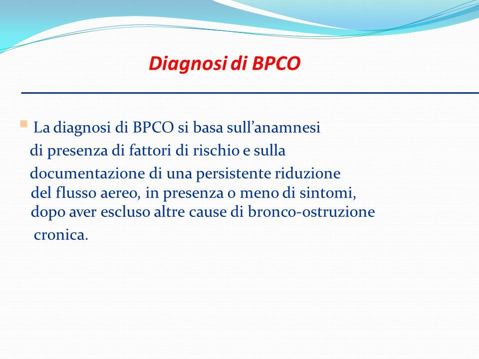 La diagnosi di BPCO si basa sullanamnesi di presenza di fattori di rischio e sulla documentazione di una persistente riduzione del flusso aereo, in pr