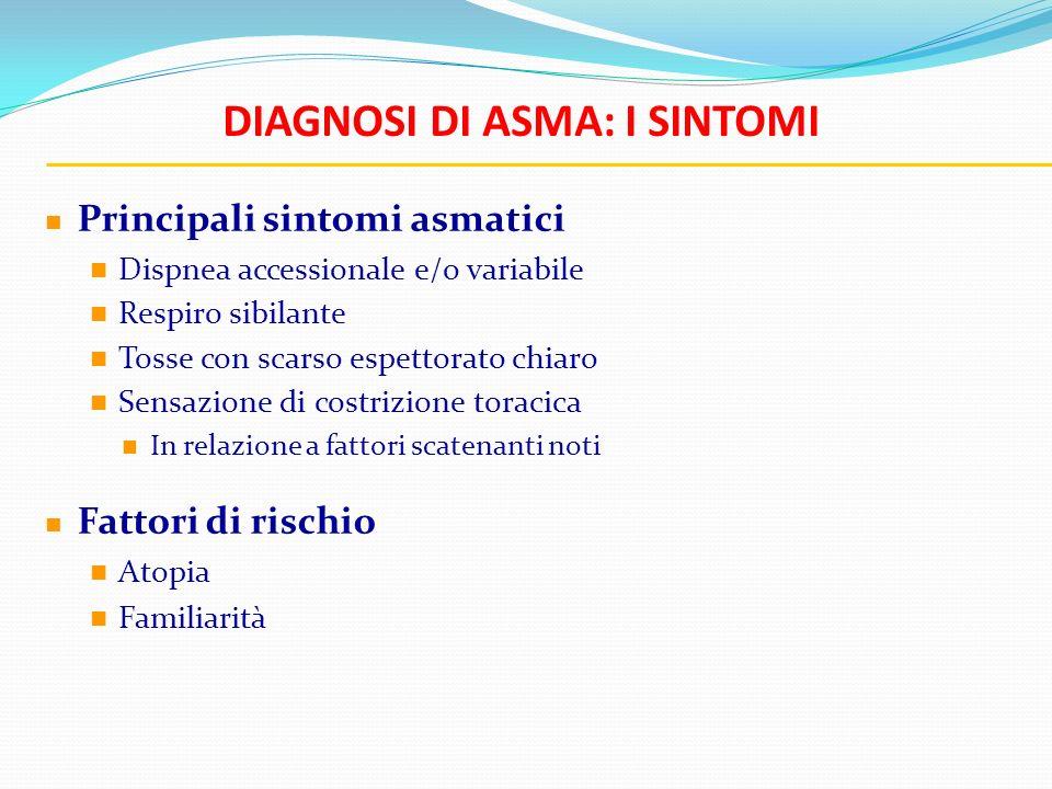 DIAGNOSI DI ASMA: I SINTOMI Principali sintomi asmatici Dispnea accessionale e/o variabile Respiro sibilante Tosse con scarso espettorato chiaro Sensa