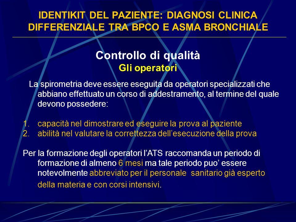 IDENTIKIT DEL PAZIENTE: DIAGNOSI CLINICA DIFFERENZIALE TRA BPCO E ASMA BRONCHIALE Controllo di qualità Gli operatori La spirometria deve essere esegui