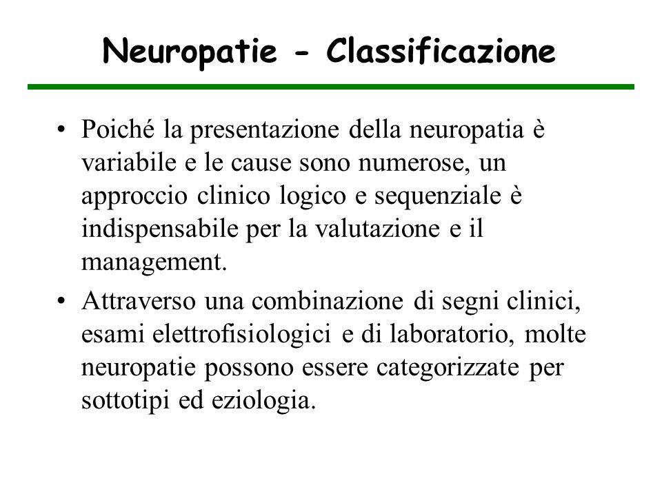 Neuropatie - Classificazione Poiché la presentazione della neuropatia è variabile e le cause sono numerose, un approccio clinico logico e sequenziale