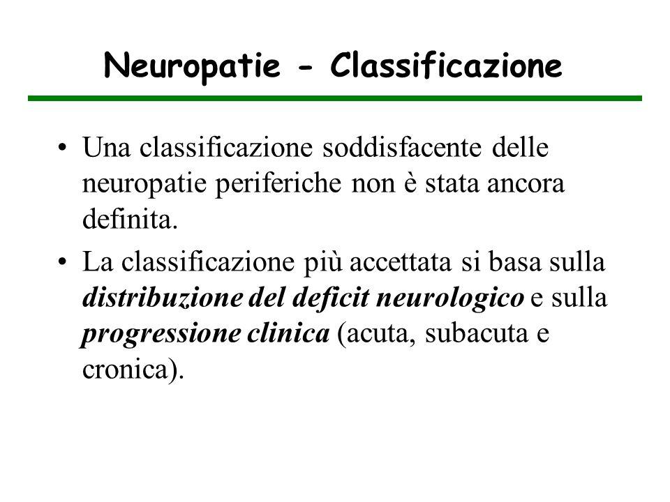 Neuropatie - Classificazione Una classificazione soddisfacente delle neuropatie periferiche non è stata ancora definita. La classificazione più accett