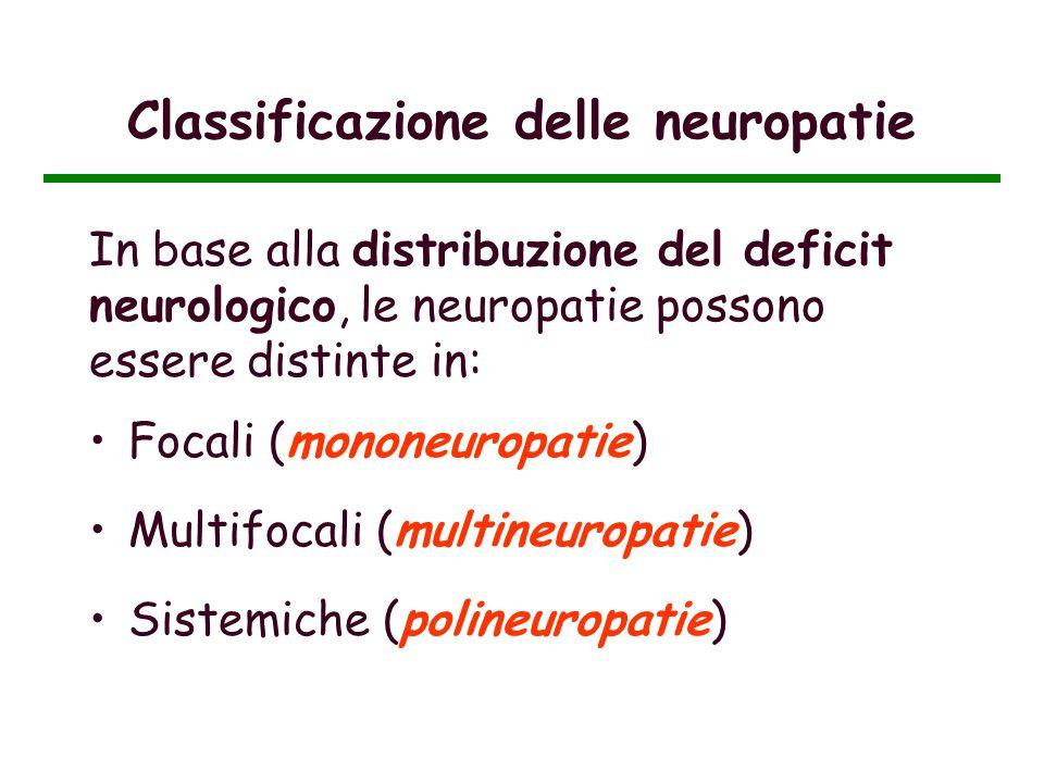 Classificazione delle neuropatie In base alla distribuzione del deficit neurologico, le neuropatie possono essere distinte in: Focali (mononeuropatie)