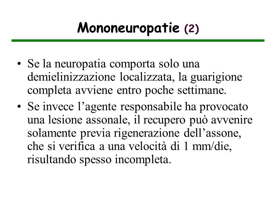 Mononeuropatie (2) Se la neuropatia comporta solo una demielinizzazione localizzata, la guarigione completa avviene entro poche settimane. Se invece l
