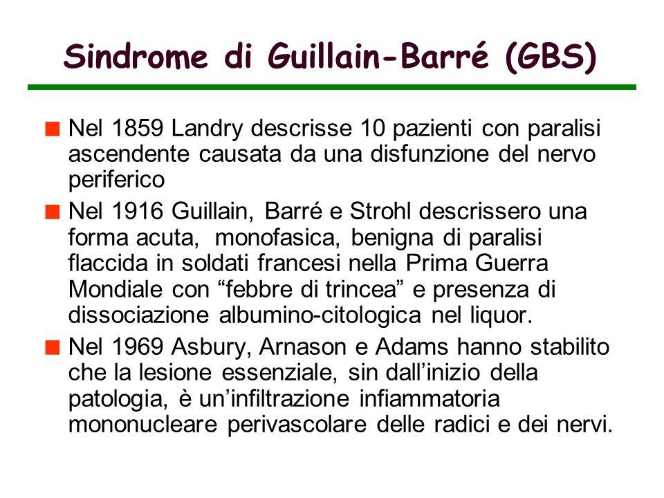 Nel 1859 Landry descrisse 10 pazienti con paralisi ascendente causata da una disfunzione del nervo periferico Nel 1916 Guillain, Barré e Strohl descri