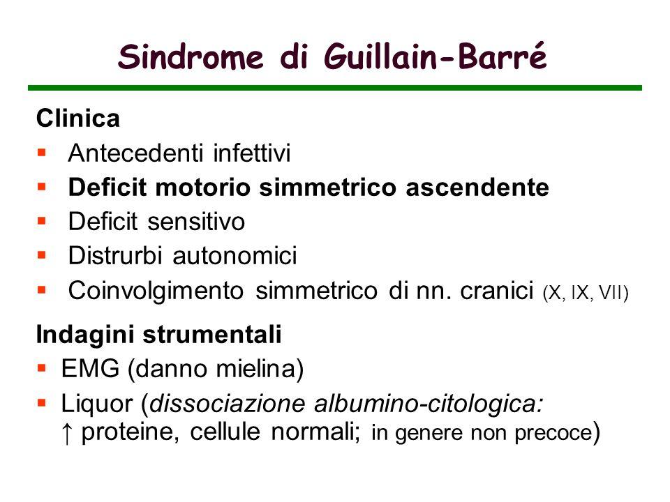 Sindrome di Guillain-Barré Clinica Antecedenti infettivi Deficit motorio simmetrico ascendente Deficit sensitivo Distrurbi autonomici Coinvolgimento s