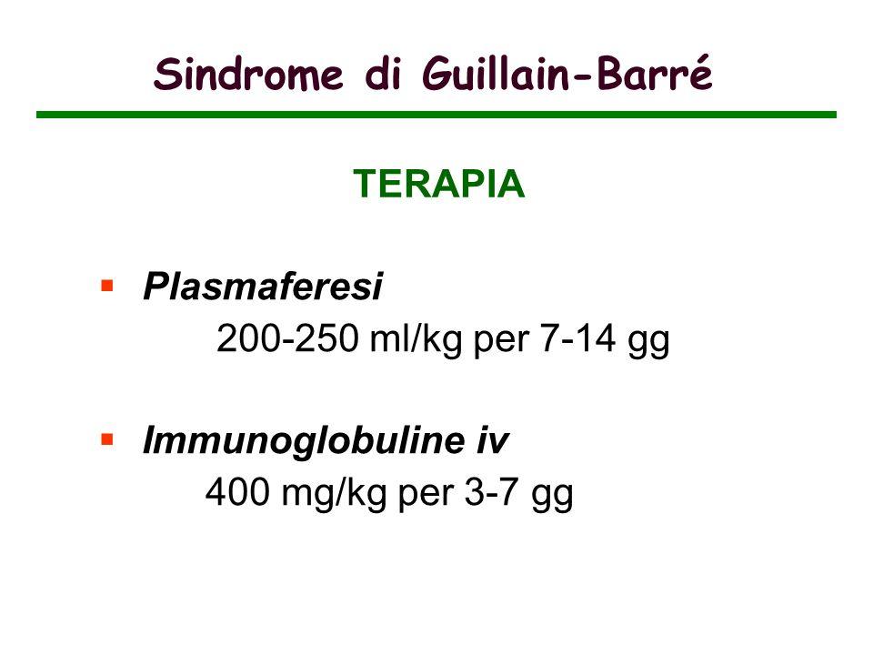 Sindrome di Guillain-Barré Plasmaferesi 200-250 ml/kg per 7-14 gg Immunoglobuline iv 400 mg/kg per 3-7 gg TERAPIA