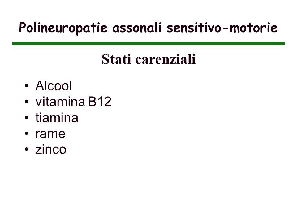 Polineuropatie assonali sensitivo-motorie Alcool vitamina B12 tiamina rame zinco Stati carenziali