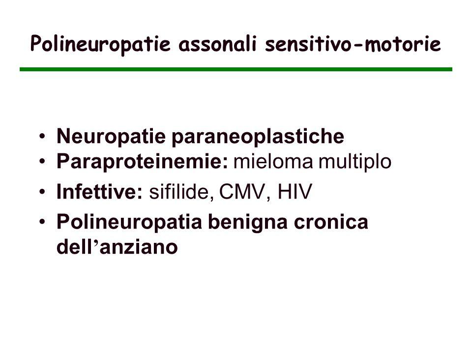 Polineuropatie assonali sensitivo-motorie Neuropatie paraneoplastiche Paraproteinemie: mieloma multiplo Infettive: sifilide, CMV, HIV Polineuropatia b