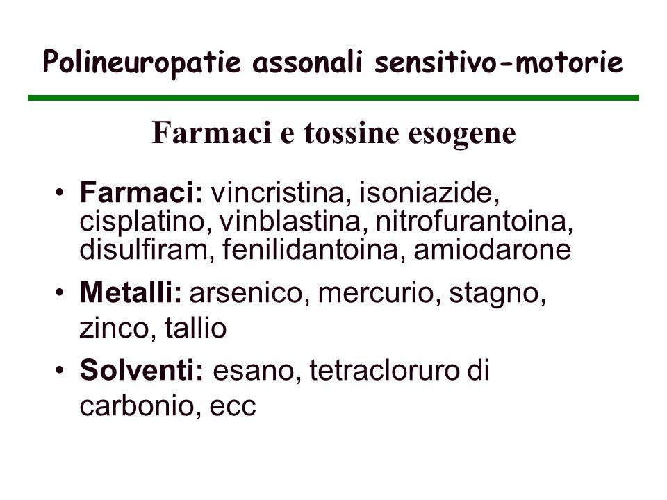Polineuropatie assonali sensitivo-motorie Farmaci: vincristina, isoniazide, cisplatino, vinblastina, nitrofurantoina, disulfiram, fenilidantoina, amio