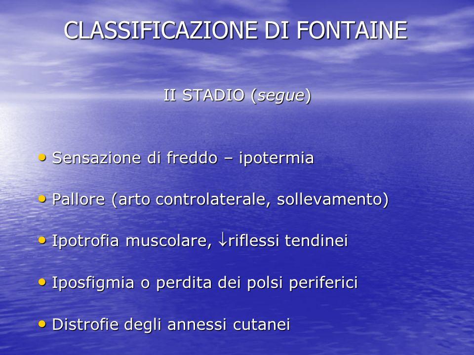 CLASSIFICAZIONE DI FONTAINE II STADIO (segue) Sensazione di freddo – ipotermia Sensazione di freddo – ipotermia Pallore (arto controlaterale, sollevam