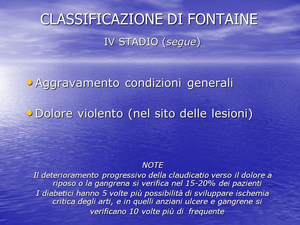 CLASSIFICAZIONE DI FONTAINE IV STADIO (segue) Aggravamento condizioni generali Aggravamento condizioni generali Dolore violento (nel sito delle lesion