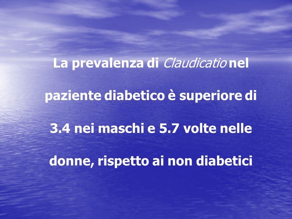 La prevalenza di Claudicatio nel paziente diabetico è superiore di 3.4 nei maschi e 5.7 volte nelle donne, rispetto ai non diabetici