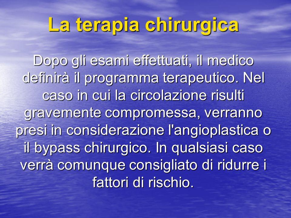 La terapia chirurgica Dopo gli esami effettuati, il medico definirà il programma terapeutico. Nel caso in cui la circolazione risulti gravemente compr