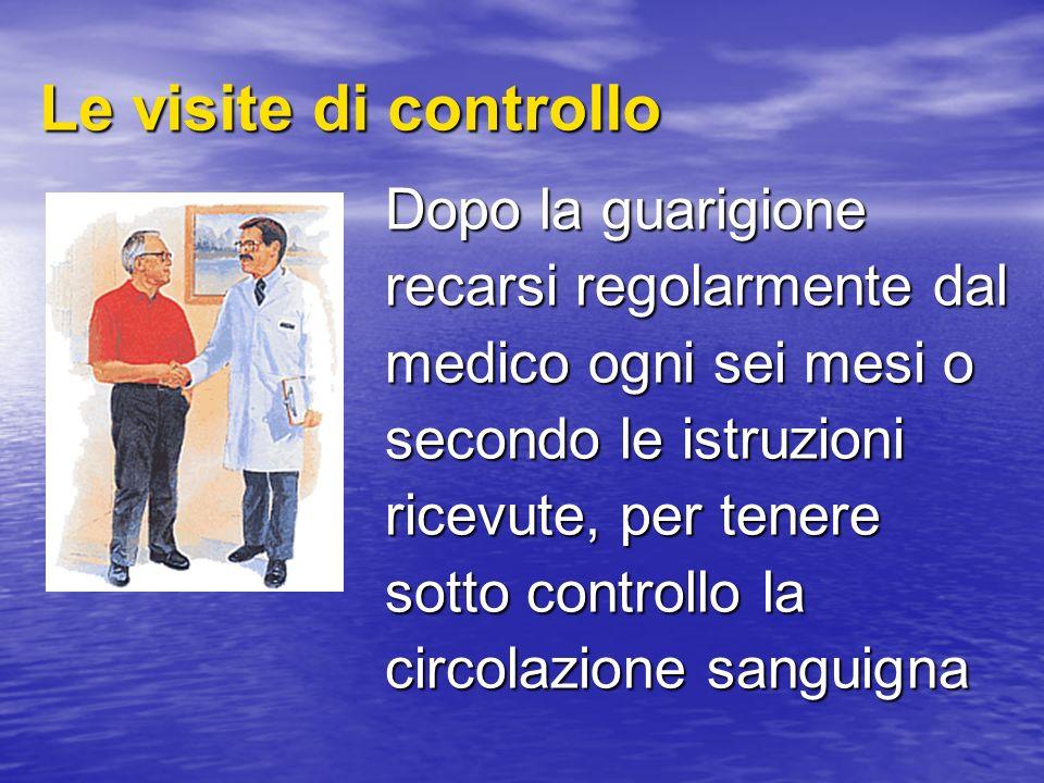 Dopo la guarigione recarsi regolarmente dal medico ogni sei mesi o secondo le istruzioni ricevute, per tenere sotto controllo la circolazione sanguign