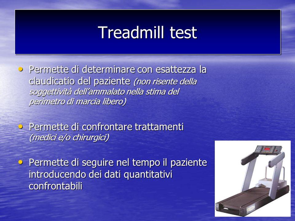 Treadmill test Permette di determinare con esattezza la claudicatio del paziente (non risente della soggettività dellammalato nella stima del perimetr