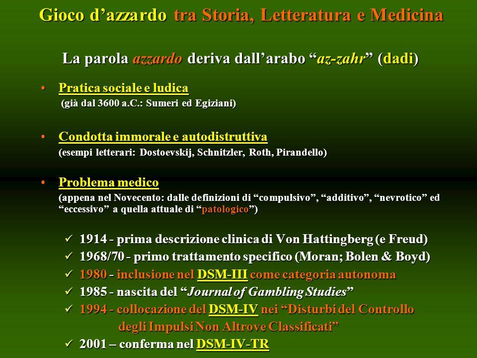 La parola azzardo deriva dallarabo az-zahr (dadi) Pratica sociale e ludicaPratica sociale e ludica (già dal 3600 a.C.: Sumeri ed Egiziani) (già dal 36