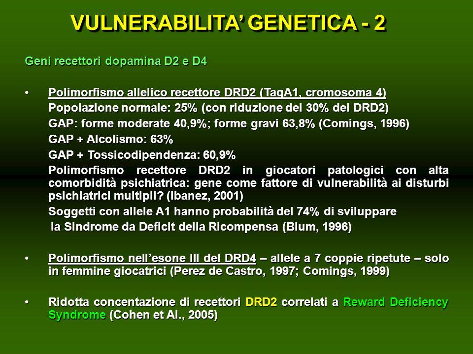 Geni recettori dopamina D2 e D4 Polimorfismo allelico recettore DRD2 (TaqA1, cromosoma 4)Polimorfismo allelico recettore DRD2 (TaqA1, cromosoma 4) Pop