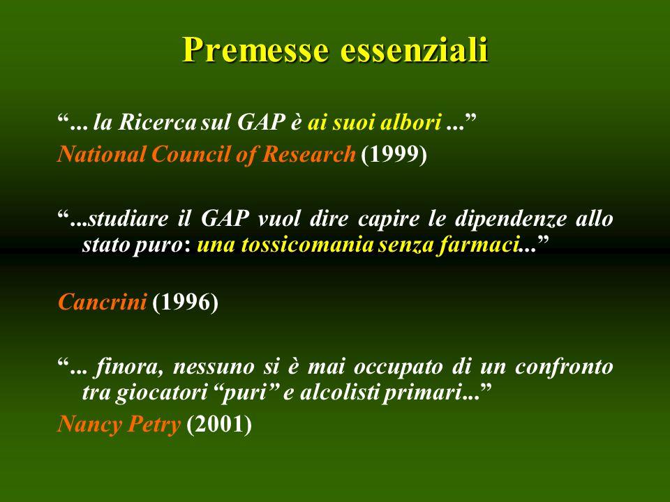 Premesse essenziali... la Ricerca sul GAP è ai suoi albori... National Council of Research (1999) una tossicomania senza farmaci......studiare il GAP