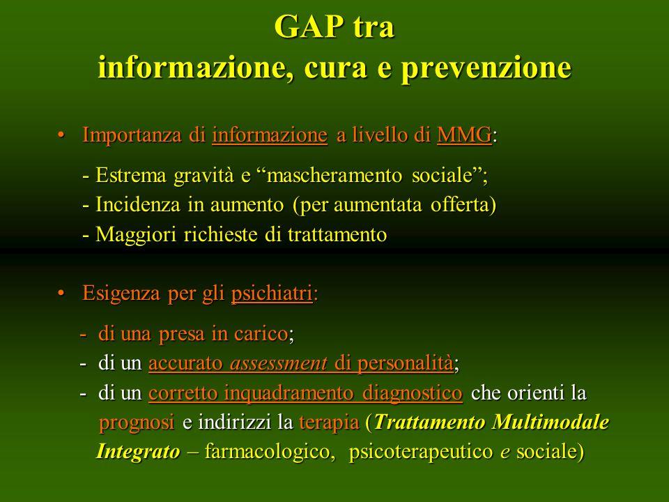 GAP tra informazione, cura e prevenzione Importanza di informazione a livello di MMG:Importanza di informazione a livello di MMG: - Estrema gravità e