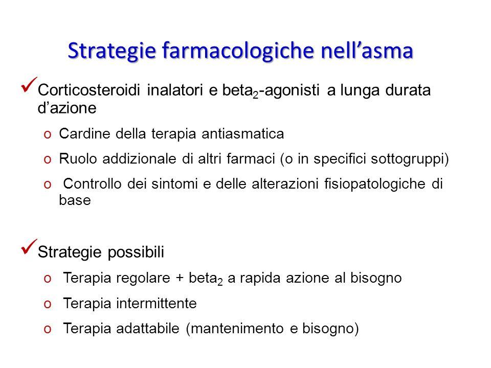 Strategie farmacologiche nellasma Corticosteroidi inalatori e beta 2 -agonisti a lunga durata dazione oCardine della terapia antiasmatica oRuolo addiz