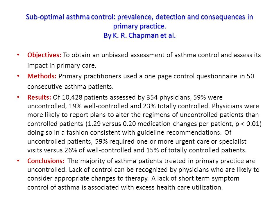 Sub-optimal asthma control: prevalence, detection and consequences in primary practice. By K. R. Chapman et al. Objectives: To obtain an unbiased asse