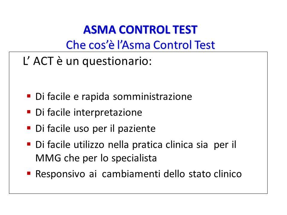 ASMA CONTROL TEST Che cosè lAsma Control Test L ACT è un questionario: Di facile e rapida somministrazione Di facile interpretazione Di facile uso per