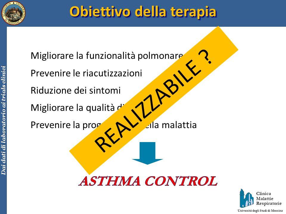 Clinica Malattie Respiratorie Università degli Studi di Messina Dai dati di laboratorio ai trials clinici Obiettivo della terapia Migliorare la funzio