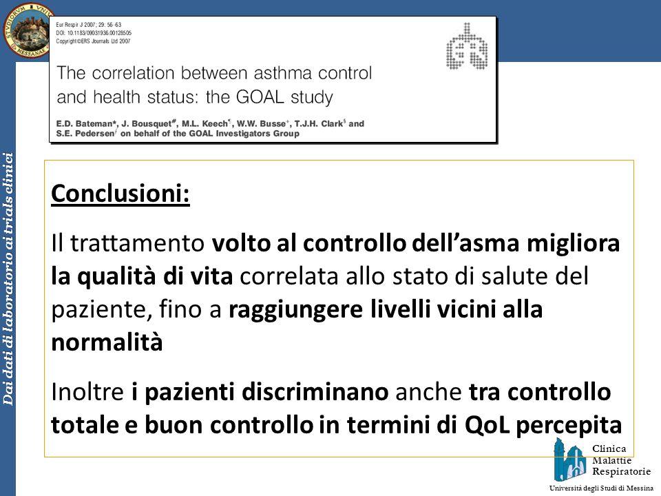 Clinica Malattie Respiratorie Università degli Studi di Messina Dai dati di laboratorio ai trials clinici Conclusioni: Il trattamento volto al control