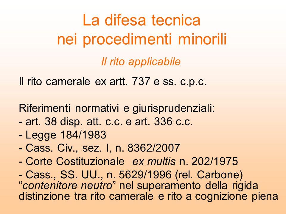 La difesa tecnica nei procedimenti minorili Il rito camerale ex artt. 737 e ss. c.p.c. Riferimenti normativi e giurisprudenziali: - art. 38 disp. att.