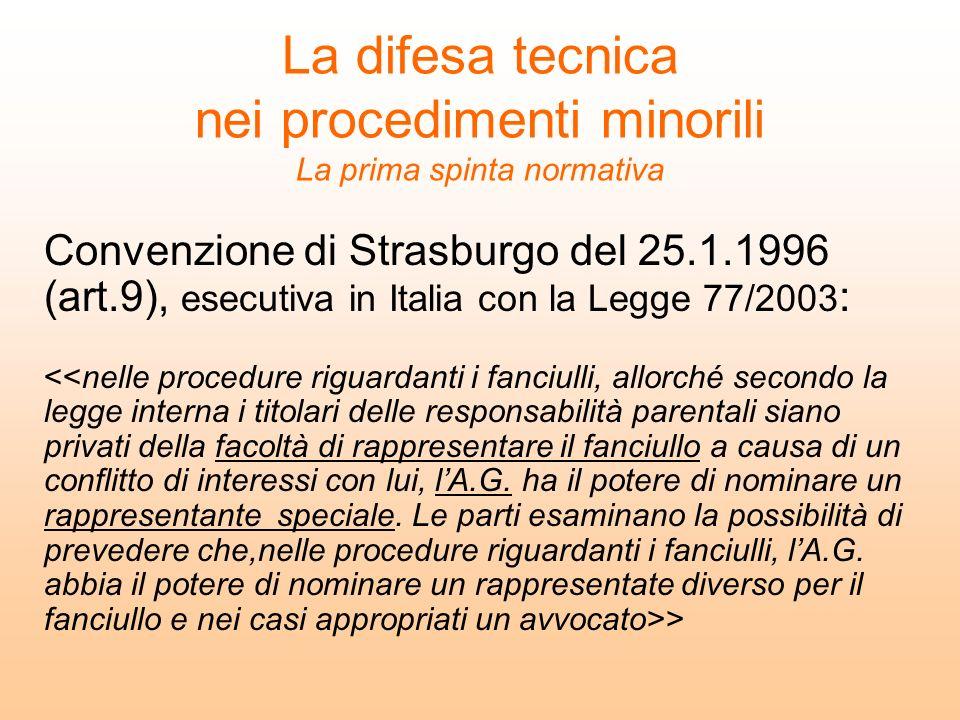 La difesa tecnica nei procedimenti minorili La prima spinta normativa Convenzione di Strasburgo del 25.1.1996 (art.9), esecutiva in Italia con la Legg