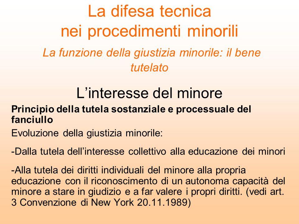 La difesa tecnica nei procedimenti minorili La funzione della giustizia minorile: il bene tutelato Linteresse del minore Principio della tutela sostan
