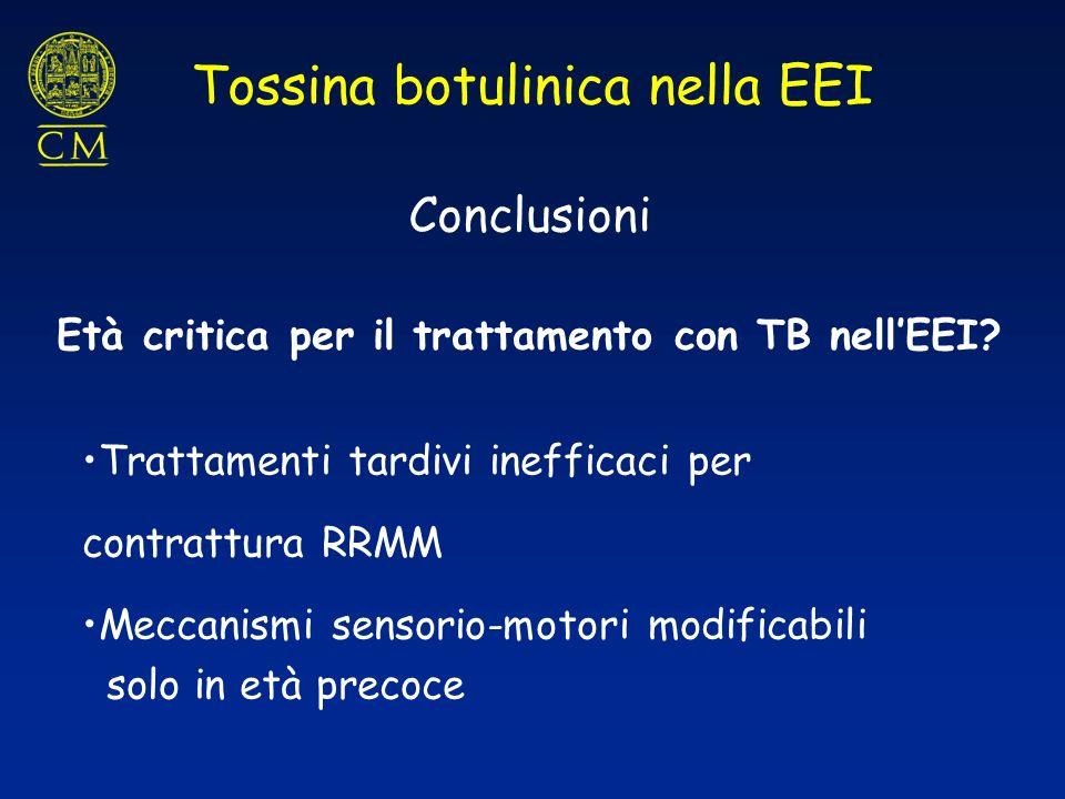 Conclusioni Tossina botulinica nella EEI Età critica per il trattamento con TB nellEEI? Trattamenti tardivi inefficaci per contrattura RRMM Meccanismi