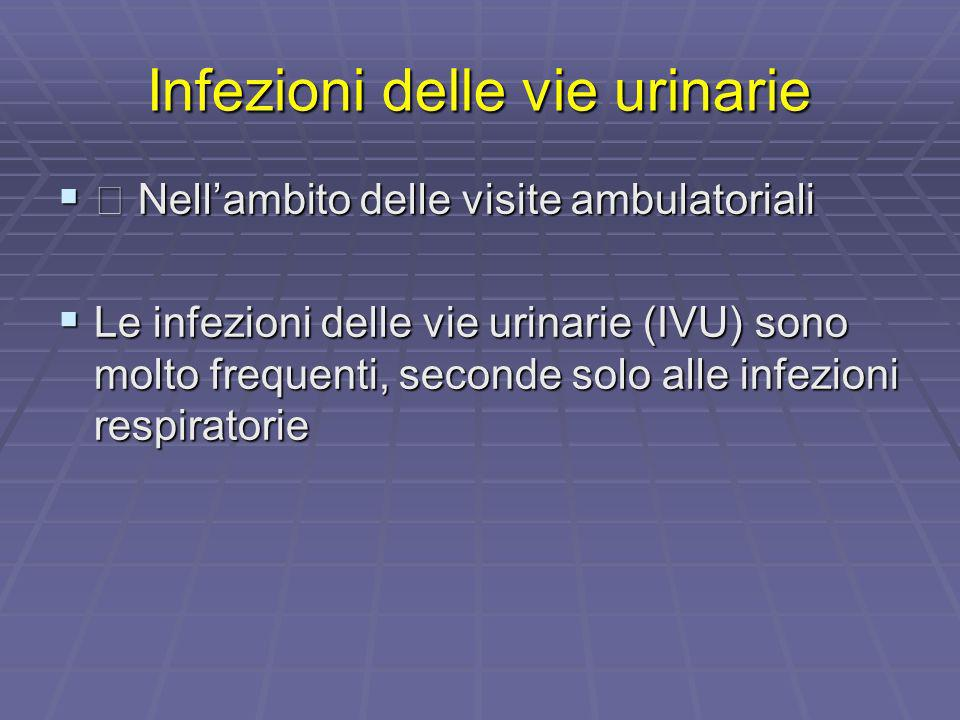 Infezioni delle vie urinarie Nellambito delle visite ambulatoriali Nellambito delle visite ambulatoriali Le infezioni delle vie urinarie (IVU) sono mo