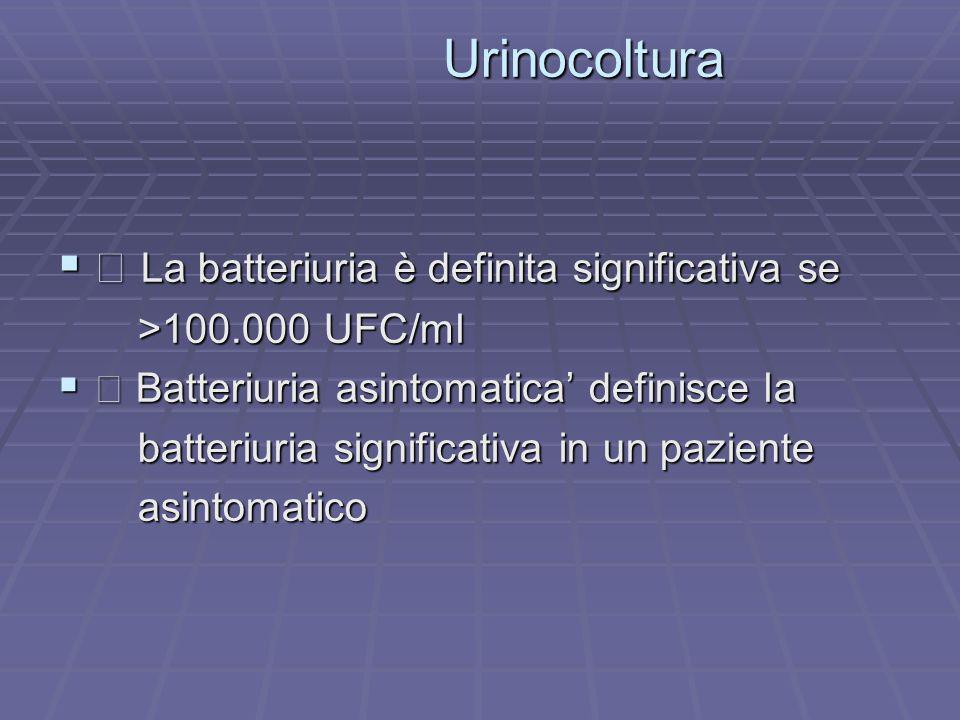 Urinocoltura Urinocoltura La batteriuria è definita significativa se La batteriuria è definita significativa se >100.000 UFC/ml >100.000 UFC/ml Batter