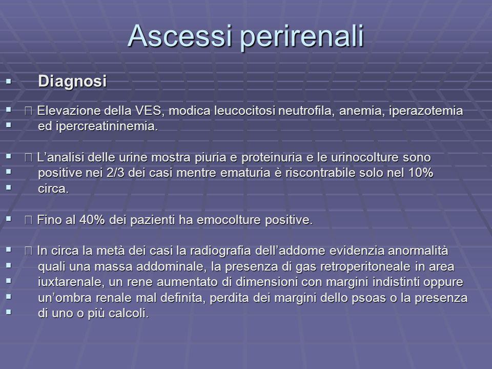 Ascessi perirenali Diagnosi Diagnosi Elevazione della VES, modica leucocitosi neutrofila, anemia, iperazotemia Elevazione della VES, modica leucocitos