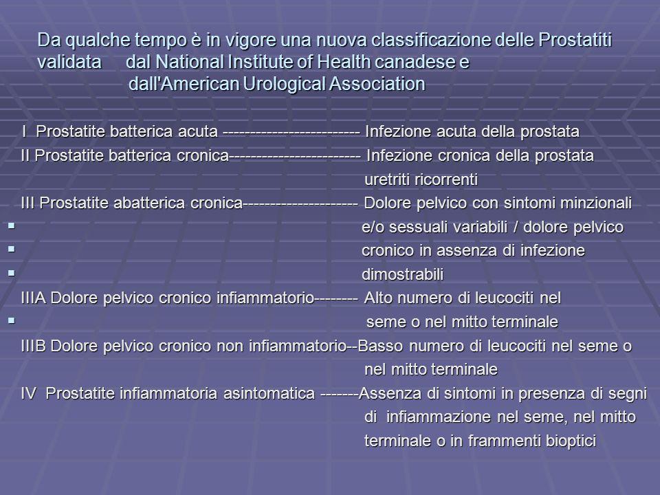 Da qualche tempo è in vigore una nuova classificazione delle Prostatiti validata dal National Institute of Health canadese e dall'American Urological